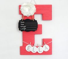 "Letter ""E"" Hospital Door Hanging, Chalkboard Birth Info, Personalized Name"