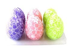 Biedermann & Sons Unscented 6 Pack Floral Design Egg Shaped Easter Holiday Candles