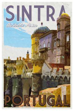 Items similar to Portugal - Sintra Retro Travel Poster on Etsy Vintage Travel Trailers, Vintage Travel Posters, Travel Cards, Portugal Travel, Fairy Tales, Digital Prints, Retro, Places, Ferns