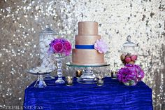 Fuchsia and Royal Blue Dessert Table | Save the Date for Cupcakes