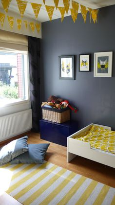 Yellow & grey kids room