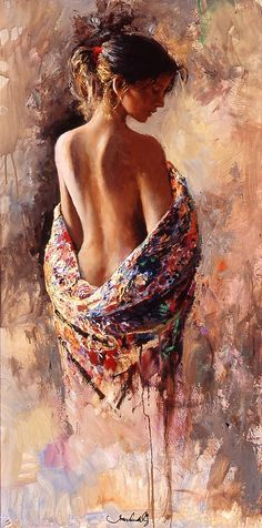 Bareback beauty with shawl oil painting on canvas                                                                                                                                                      Mehr