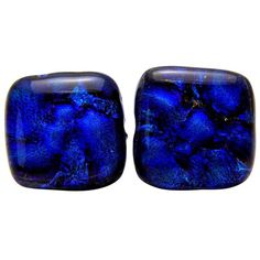 Dichroic Glass Stud Sterling Silver Earrings - Square in Ocean... (€21) ❤ liked on Polyvore featuring jewelry, earrings, earring jewelry, sterling silver jewellery, square stud earrings, polish jewelry and studded jewelry