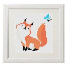Fox Cross Stitch Pattern PDF Digital Needlepoint Instant Download Embroidery , Modern crossstitch pattern Woodland animal crossing #26