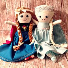 Frozen Inspired Elsa and Anna Handmade 16 inch Fabric Dolls