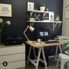 Workspace Inspo and Image Regram thanks to Di @styledbydi based in Australia. Monochrome Monday comes around so fast and lucky it does as we have this gorgeous workspace belonging to Stylist and Interior Design Student Di that we have been excited to feature.  We love a fab monochrome workspace  especially when in the mix is wood and green to soften....thanks Di we love your workspace style! by theworkspacestylist