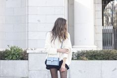 shorts with ruffles white sweater black heels uterqüe bag 13