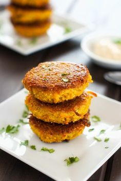 Curried Sweet Potato Quinoa Patties with Spicy Yogurt Sauce