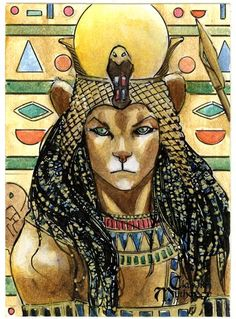 Sekhmet Goddess of divine  retribution. Mother of Nefertem.Wife of Ptah.
