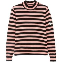 Shrimps Eric appliquéd striped wool sweater (€265) ❤ liked on Polyvore featuring tops, sweaters, shirts, pink striped sweater, striped sleeve shirt, shirt sweater, graphic shirts and striped shirts