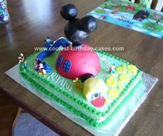 Homemade Mickey Mouse Clubhouse Cake: For my nephew's birthday he wanted a homemade Mickey Mouse Clubhouse cake! It took a while to do, but there are a few things that I could have done first