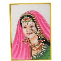 The Arts Of India Embossed Miniature Painting On Marble Plate Of A Maharani and The Indian Jewelry: Amazon.co.uk: Kitchen & Home
