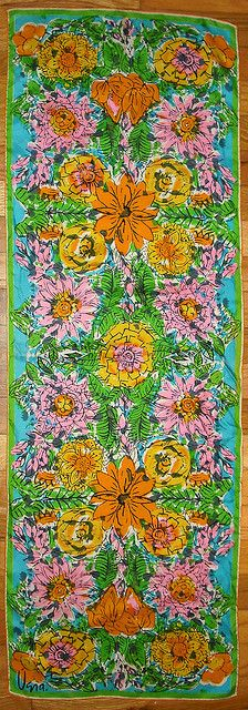 Mod •~• vintage green, orange, pink, turquoise, & yellow Vera Neumann scarf