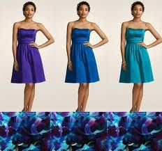 Cobalt, teal, and a purple.