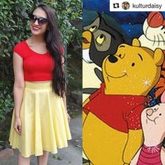 Winnie the Pooh is one of my favorites characters of all time. He's so cuddly and cute!! I love how @kulturdaisy styled her yellow skirt with a simple red top to make this subtle Winnie bound!❤ #Disneybound #disneystyle #disneyfashion #winniethepooh #disneyland #damseldesigned #shopsmall #shophandmade #supporthandmade #etsyshop #ivegotarumblyinmytumbly #poohbear
