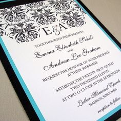 turquoise and black wedding invitations