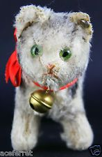 Original US Zone Steiff Tabby Cat #1610.0 With Raised Silverscript Button