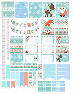 Items similar to Printable Planner Stickers Winter Woodland Animals Fox Owl Deer Doe Christmas Weekly Forest Happy Planner Glam PlanFor Erin Condren on Etsy Printable Planner Stickers Winter Woodland Animals by LaceAndLogos<br> To Do Planner, Free Planner, Happy Planner, Planner Pages, Planer Organisation, Printable Planner Stickers, Free Printable, Planner Decorating, Project Life