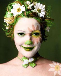 Drew Barrymore. Green. Flowers.