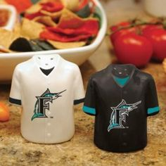 "Florida Marlins MLB Gameday Jersey Salt And Pepper Shakers by Caseys. $28.95. These ceramic shakers are hand painted and durable enough to handle everyday use! The salt and pepper shakers feature your favorite teams logo. 3.5"" tall by 3"" wide."