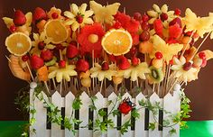fresh fruit skewers makes a awesome centerpiece.