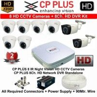 1 MP HD CCTV Cameras 8 with 8Ch. HD DVR Kit with All Accessories-CPPLUS