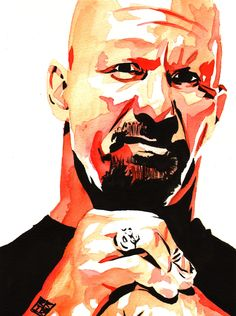 "Stone Cold Steve Austin  l  Ink and watercolor on 9"" x 12"" watercolor paper l #WWE"