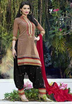 USD 31.53 Beige Cotton Jacquard Punjabi Suit 47498
