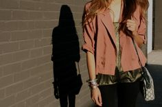 coral jacket + gold top