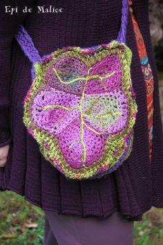 Grand Sac bandoulière, sac à main, forêt, crocheté, lierre d'automne, feuille érable/ sac de fée, lutin / nature : Sacs bandoulière par epi-de-malice