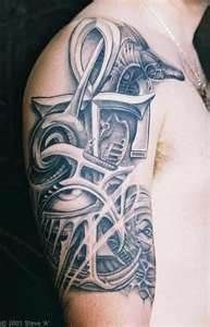 Cross Eye Of Horus Egyptian Anubis Pariah Dog Biomechanical Tattoo