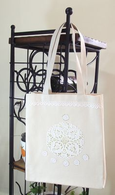 Canvas Tote Bag  Christmas Tote Bag  Romantic Lacy by duduhandmade