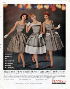 1960 Penney ad with cute dresses, @pintuckstyle.blogspot.com