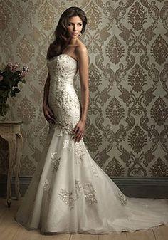 satin mermaid strapless with applique floor-length chapel train wedding dress