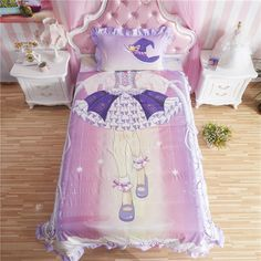 Soft cotton girls Creative 3D cover set bed sheet Bedding  New Cartoon princess  #Unbranded