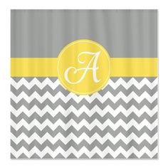 Monogrammed Shower Curtain, Custom Chevron Shower Curtain, Yellow and Grey, Choose ANY Colors, Standard or Extra Long Size, Personalized by GatheredNestDesigns on Etsy https://www.etsy.com/listing/177027781/monogrammed-shower-curtain-custom