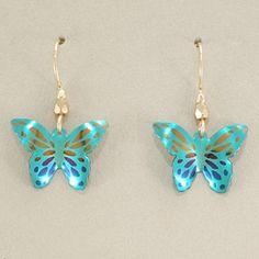 Holly Yashi Butterfly Earrings - Green