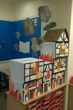 Great Fire of London activity area Más History Projects, School Projects, Projects For Kids, Crafts For Kids, School Displays, Classroom Displays, The Fire Of London, London Activities, Fire Crafts