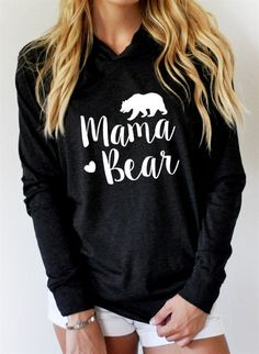 Mama Bear Long Sleeve Pullover Hoodie - Black / S - Tops. Mama Bear Sweatshirt, Bear Hoodie, Pullover Hoodie, Hoodie Sweatshirts, Sweat Shirt, Mom Outfits, Cute Outfits, Fall Outfits, Urbane Mode
