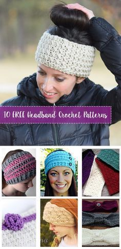 How to Make a Crochet Hat 10 FREE Crochet Headband Patterns. Compilation of Free crochet headband and ear warmer patterns. Create the crochet headbands for you or friends. Crochet Gifts, Easy Crochet, Free Crochet, Knit Crochet, Double Crochet, Crochet Hair, Crochet Beanie, Crotchet, Crochet Stitches