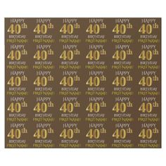 "Brown Faux Gold ""HAPPY 40th BIRTHDAY"" Wrapping Paper - birthday gifts party celebration custom gift ideas diy"