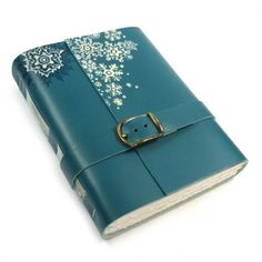 Leather Bound Journal - Teal Leather Handmade Journal - Magic Winte......