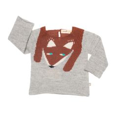 Supercool grey knitted sweater from Oeuf NYC with a fox at front. A single button at the back of the neckline for easy dressing. Fox Sweater, Pink Sweater, Knitting For Kids, Baby Knitting, Toddler Fashion, Kids Fashion, Unique Baby Clothes, Pink Olive, Hand Knitted Sweaters