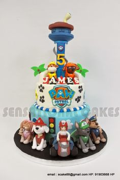 Sensational Cake Singapore , Online Cakes Singapore : BEST PAW PATROL CAKE SINGAPORE # SOLID 2 TIER PATROL THEME CAKE W TOWEL # EACH CHARACTERS CLOSELY FOLLOWED AND SUGAR CRAFTED # BEST 3D MASTER PIECE SINGAPORE
