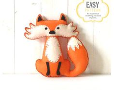 Woodland Stuffed Animal Patterns Felt Fox от LittleSoftieShoppe