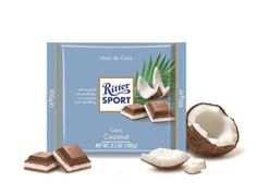 Milk chocolate filled with coconut cream and milk, Ritter Sport Chocolate Candy Brands, Ritter Sport, Chocolate Filling, Favorite Candy, Coconut Cream, Chocolates, Milk, Place Card Holders, Food