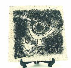 Ceramic bird tile, unknown signature - yag?