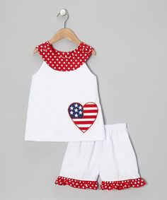 Take a look at this White Heart Yoke Top & Shorts - Infant, Toddler & Girls by Stellybelly on today! Baby Dress Clothes, Baby Kids Clothes, Doll Clothes, Kids Clothing, Toddler Fashion, Toddler Outfits, Kids Fashion, Girl Outfits, Baby Sewing Projects