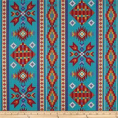 Tucson Beaded Stripe Turquoise from @fabricdotcom  From Elizabeth's Studio, this cotton print is perfect for quilting, apparel and home decor accents. Colors include turquoise, blue, red, orange, cream and yellow. The stripe runs parallel to the selvedge as pictured.