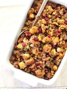 Cranberry Celery and Walnut Stuffing | foodiecrush.com